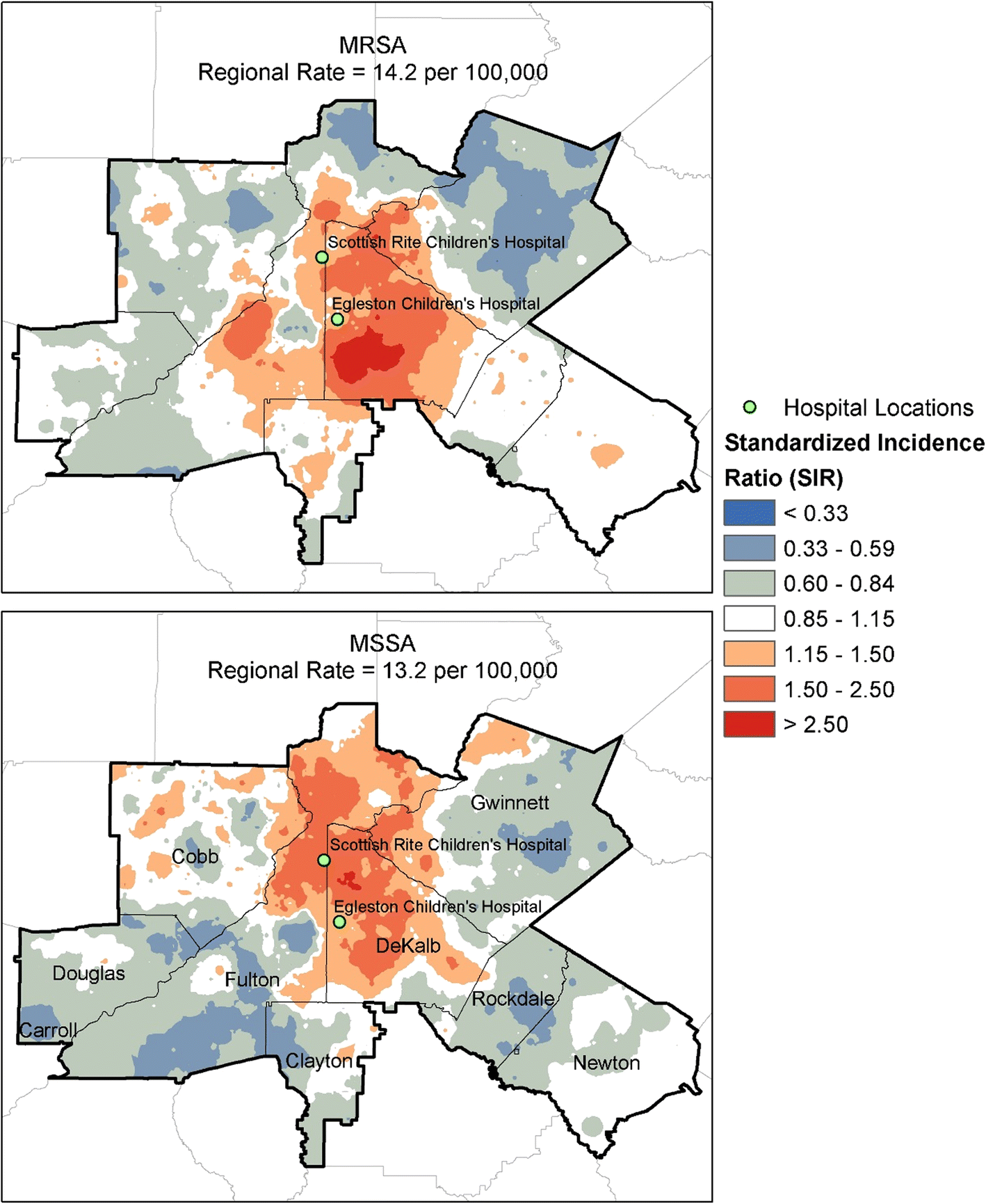 Geographic surveillance of community associated MRSA infections in