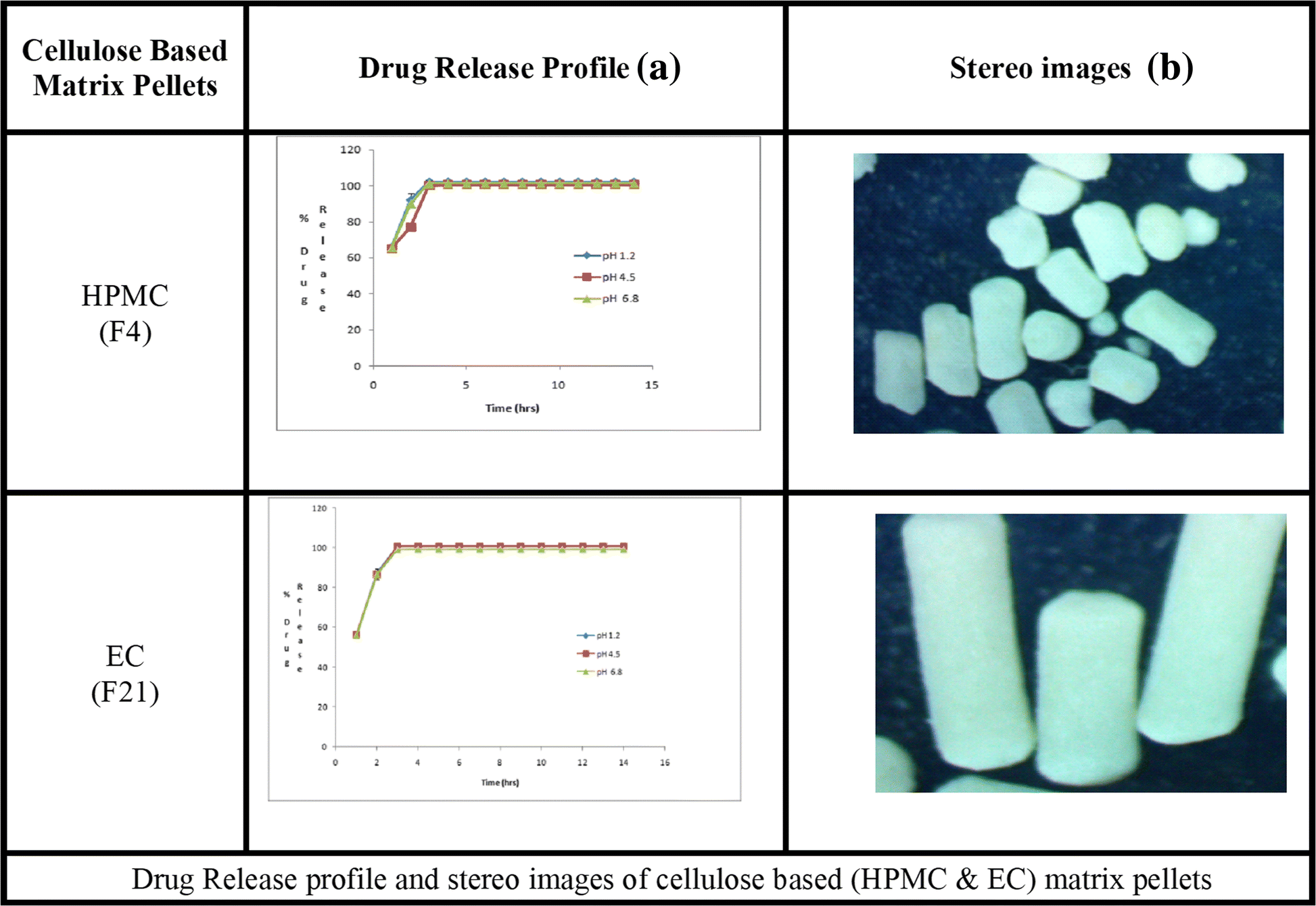 Effect of lipid and cellulose based matrix former on the