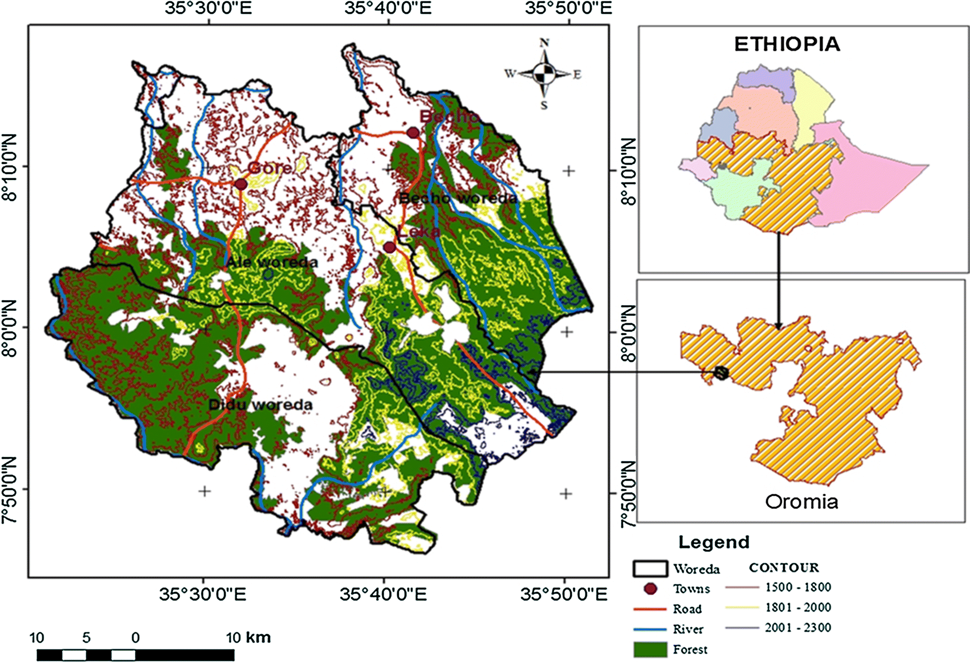 Carbon stock of the various carbon pools in Gerba-Dima moist