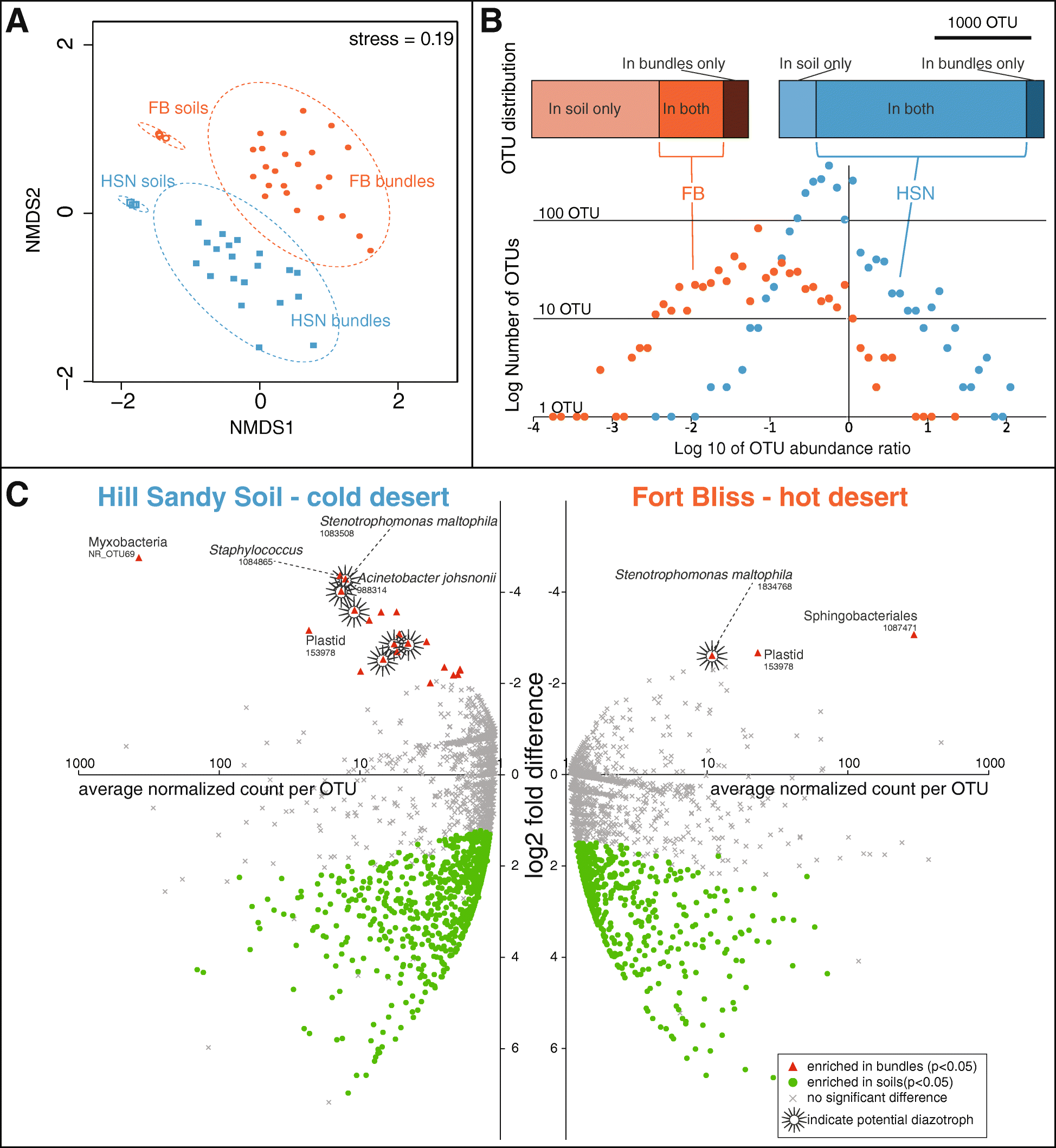 Spatial segregation of the biological soil crust microbiome