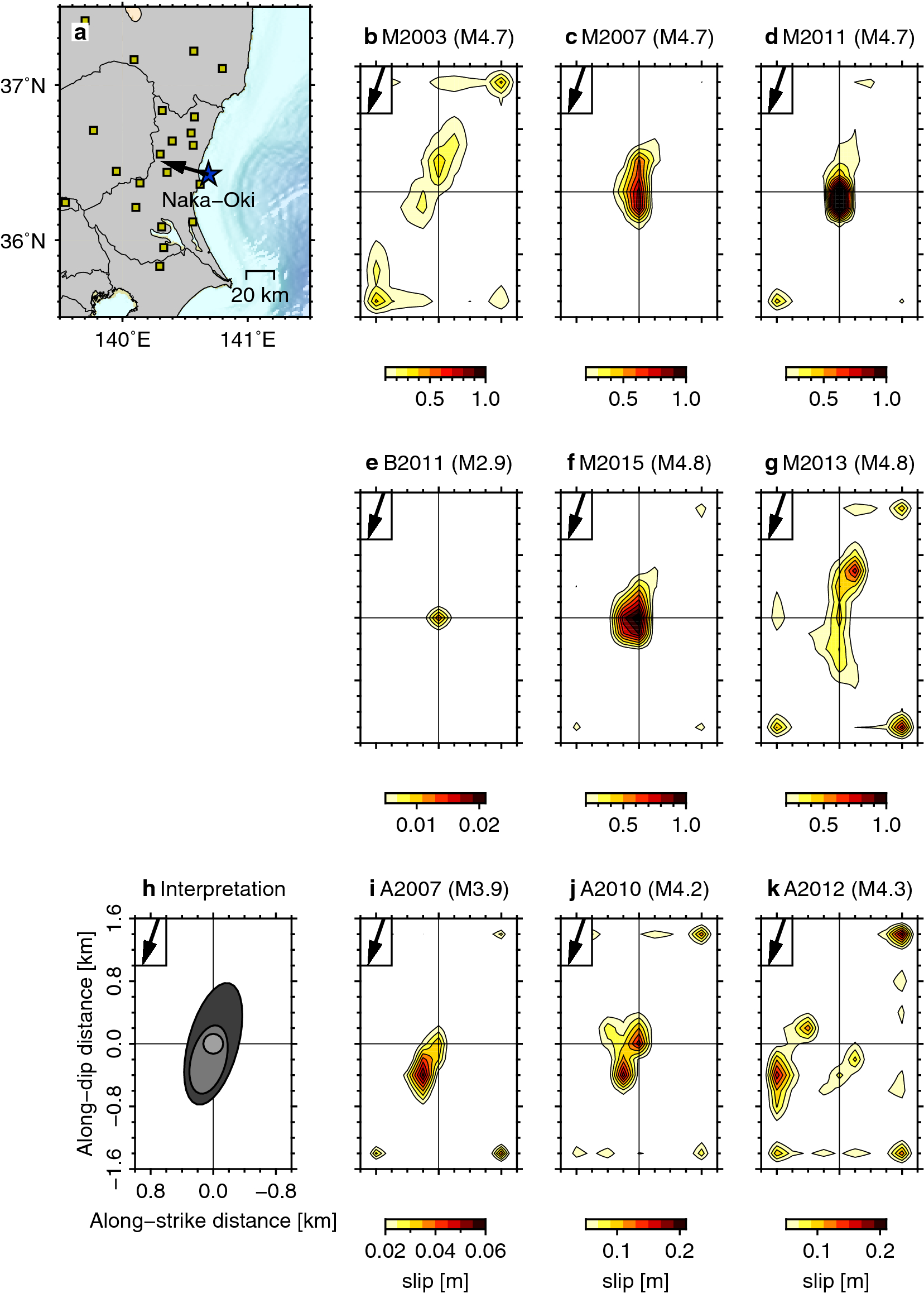 Streak and hierarchical structures of the Tohoku–Hokkaido subduction
