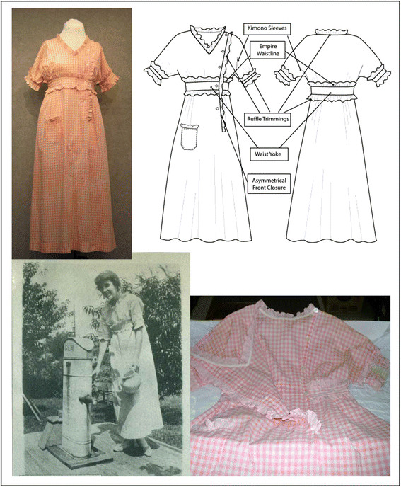 a95dc39056 Nelly Don s 1916 pink gingham apron frock  an illustration of the ...
