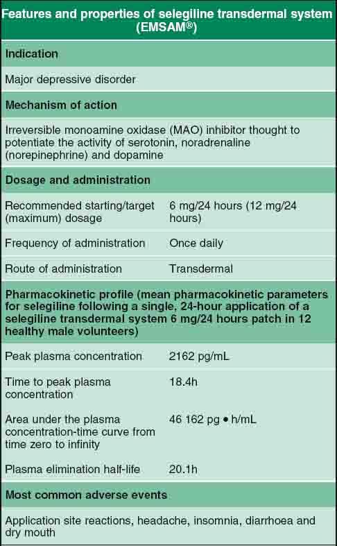 Selegiline Transdermal System In the Treatment of Major Depressive