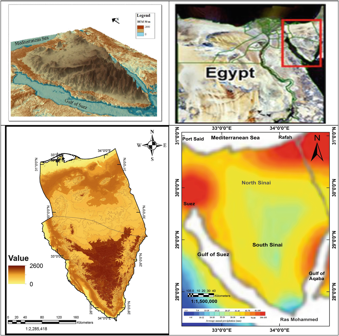Middle East Map Sinai Peninsula.Land And Groundwater Assessment For Agricultural Development In The