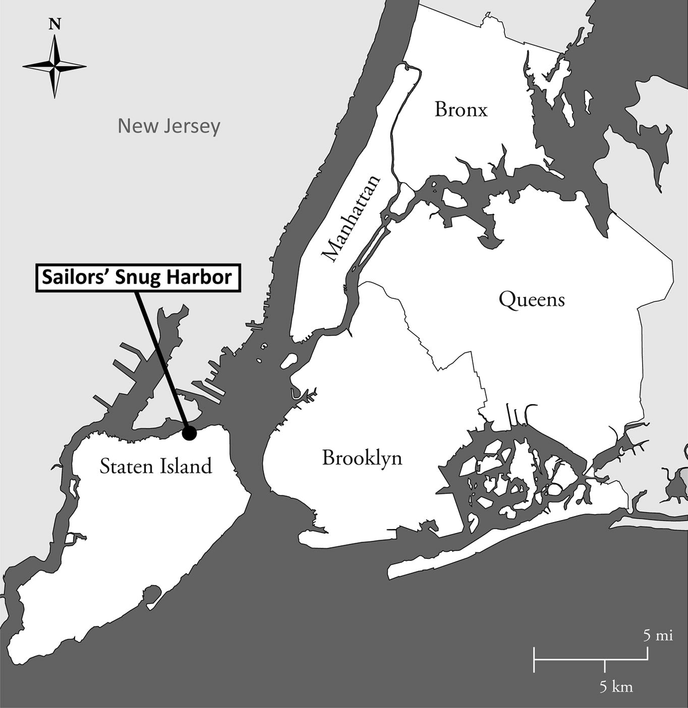 Sailors' Snug Harbor: A Landscape of Gender and Power ... on map of west brighton staten island, map of fort wadsworth staten island, map of mariners harbor staten island,