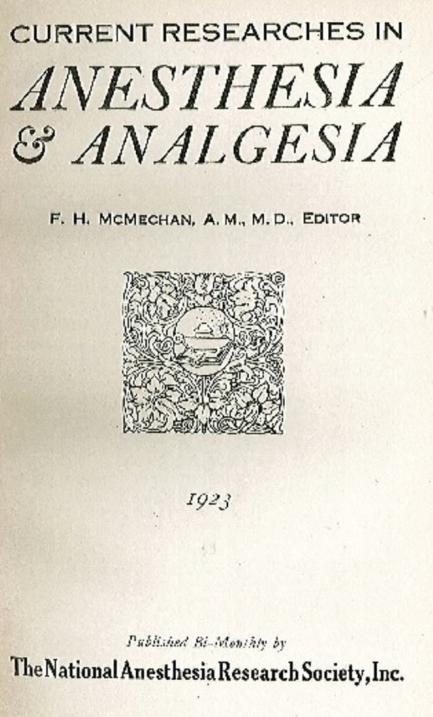 anesthesia research paper