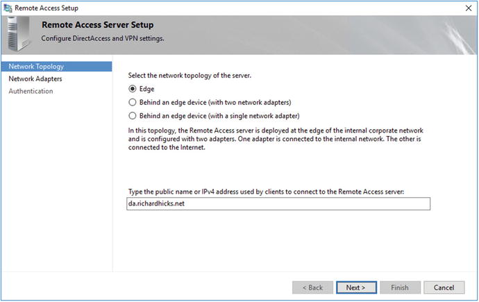 Configure DirectAccess with the Remote Access Setup Wizard