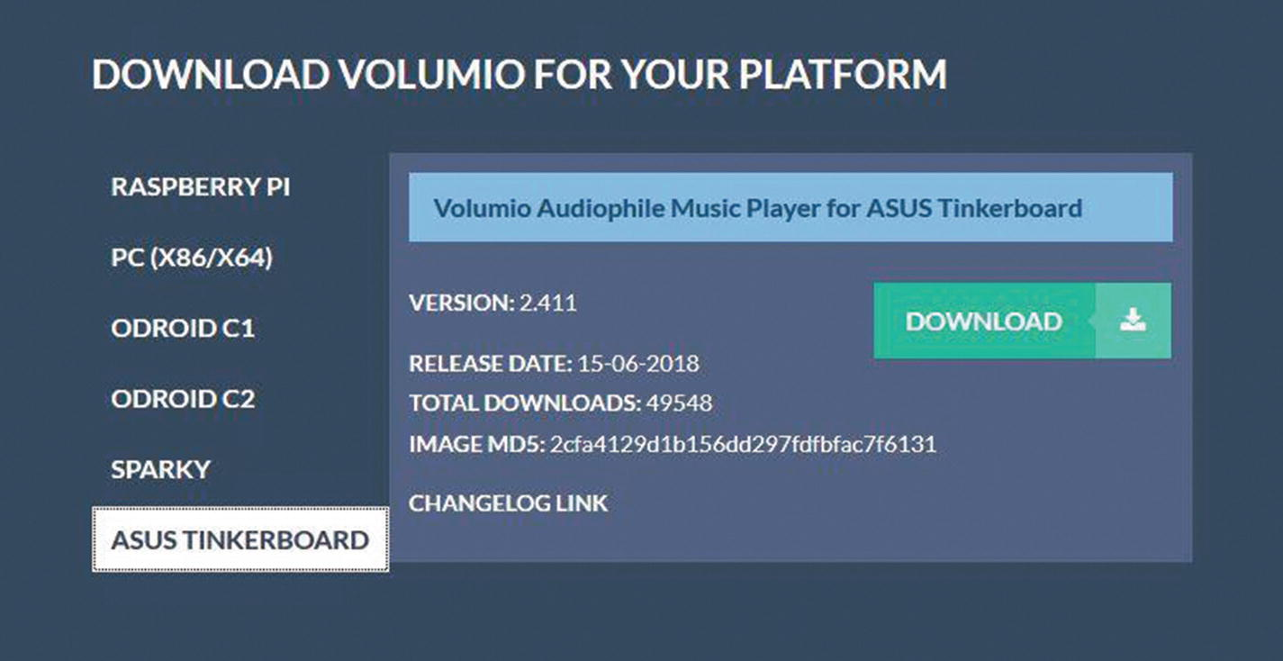Project 3: Stream Music to the Tinker Board with Volumio