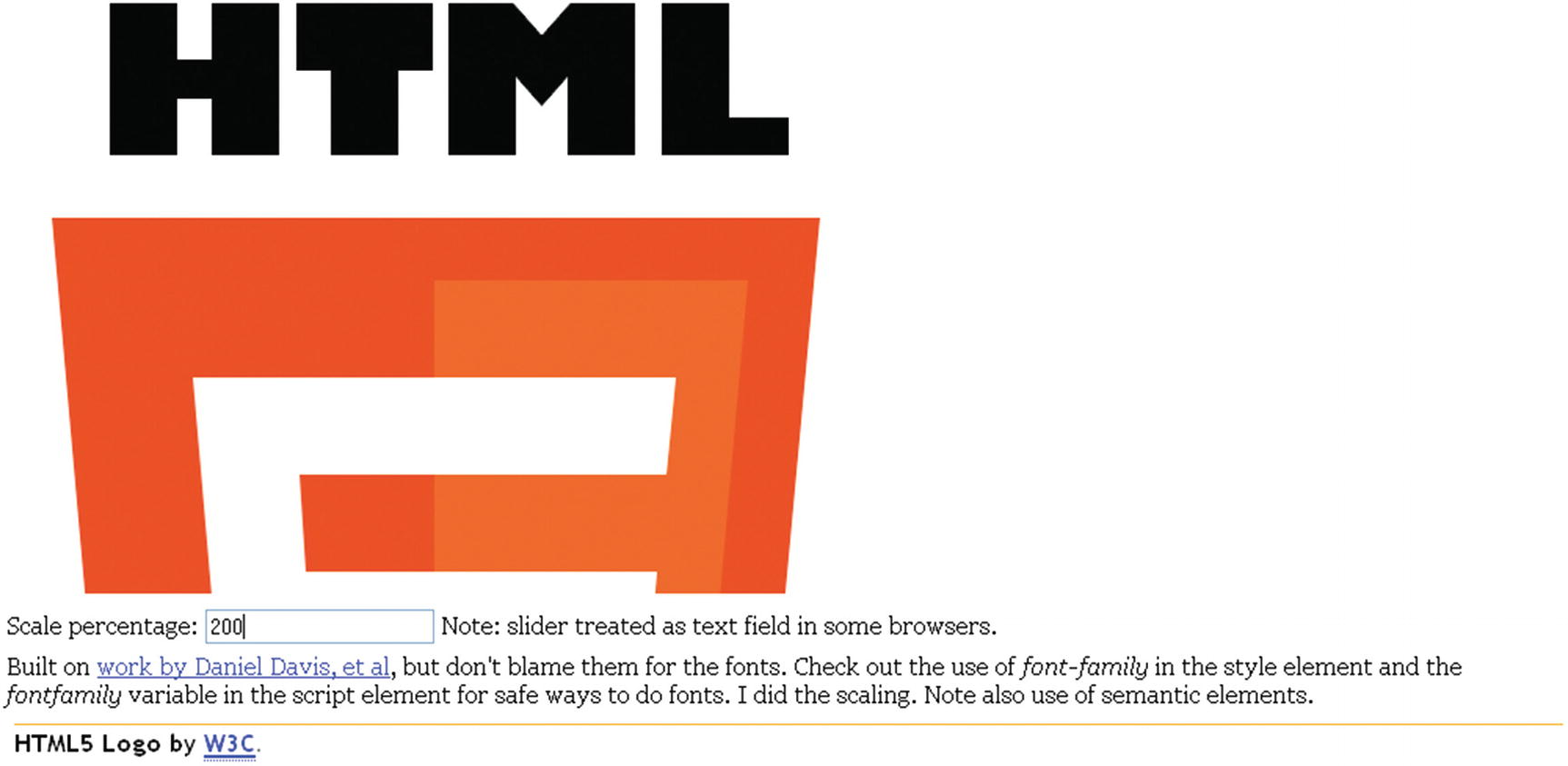 Building the HTML5 Logo: Drawing on Canvas with Scaling and Semantic