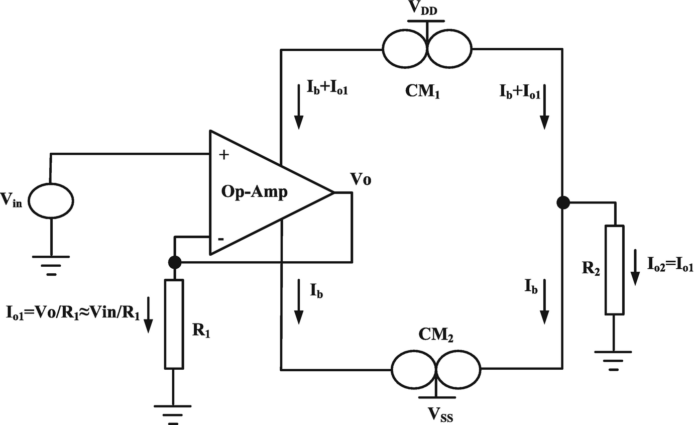 Cmia Based On Op Amp Power Supply Current Sensing Technique Amplifier Above Consists Of Two 741 Amps In A Follower With Gain Fig 21