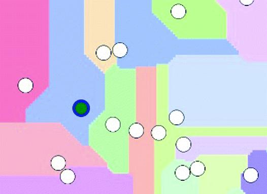 Additive Voronoi Cursor: Dynamic Effective Areas Using