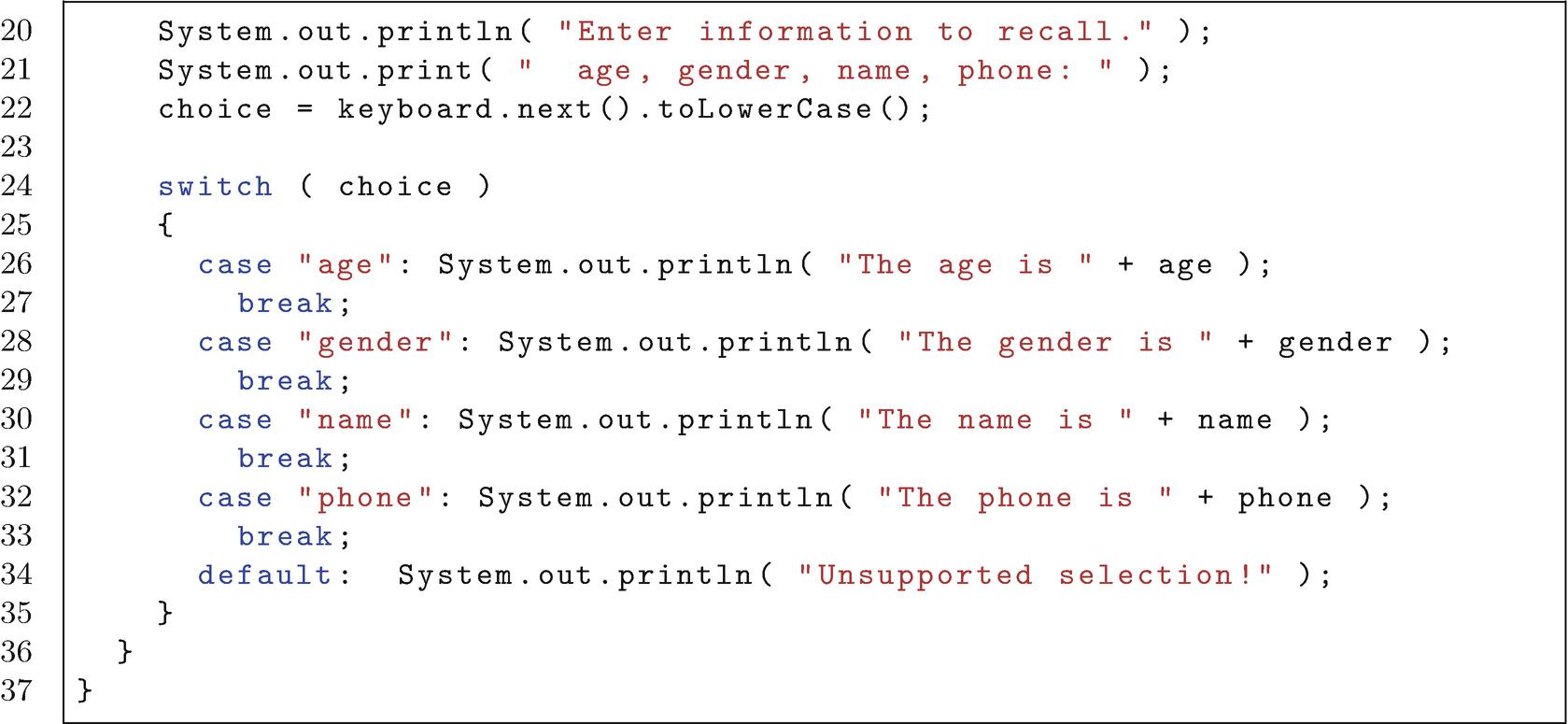 The Switch Statements   SpringerLink