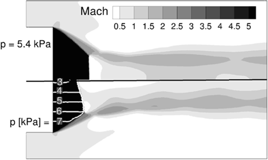 Shock System Deformation in High Mach Number Rocket Nozzles