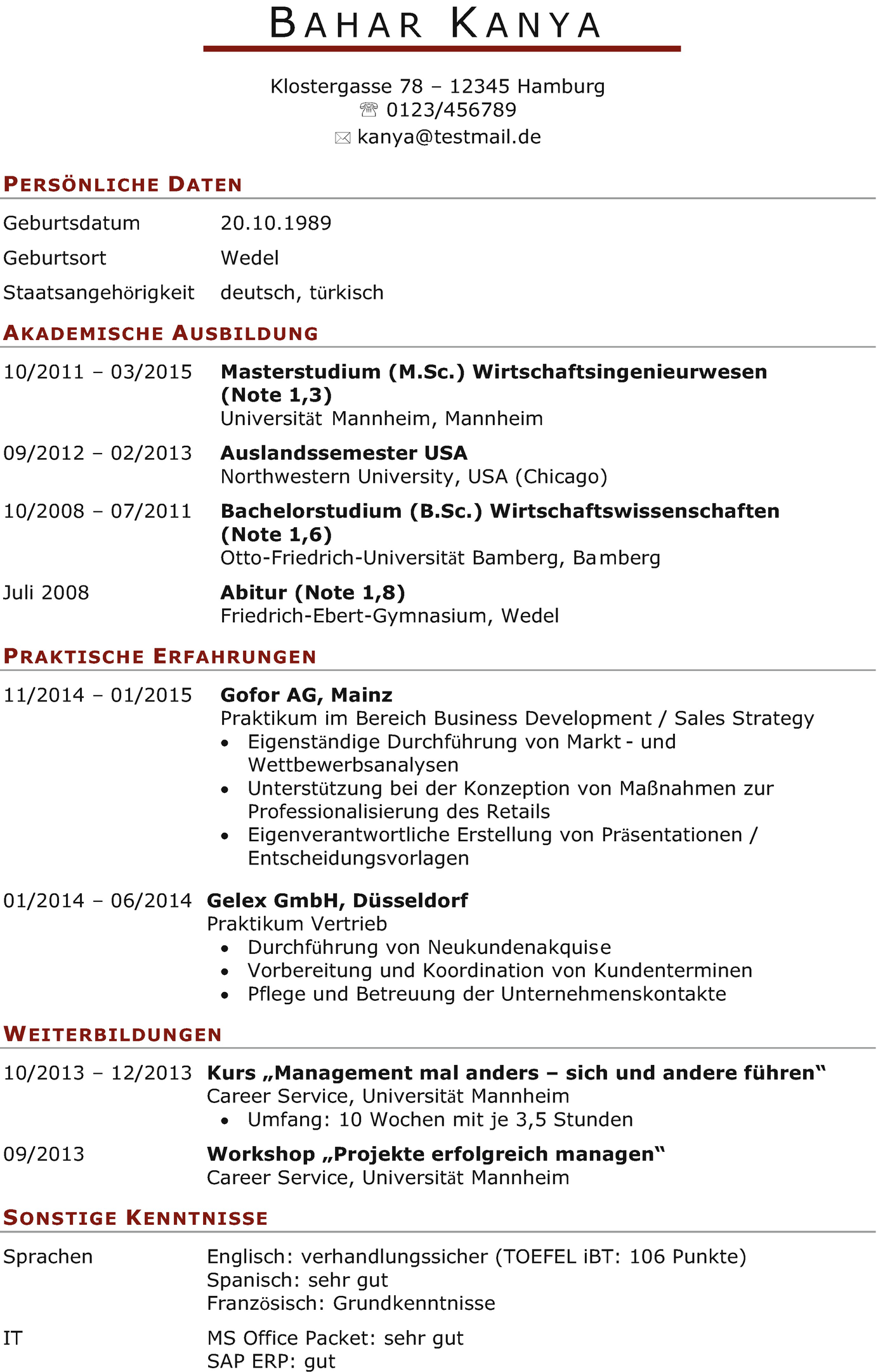 ... Lebenslauf von Frau Kanya zugesendet, seiner zukünftigen Mentee. Herr  Müller fragt sich: Hat Frau Kanya das Zeug zur Führungskraft bei der CoTek  GmbH?
