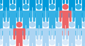 Image of a crowd of people with two individuals highlighted in a different colour