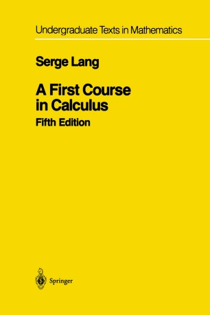 A First Course in Calculus   SpringerLink