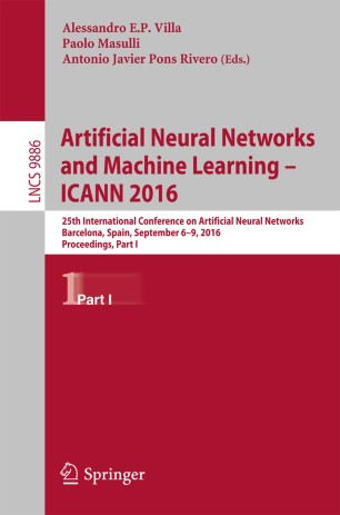 Artificial Neural Networks and Machine Learning – ICANN 2016