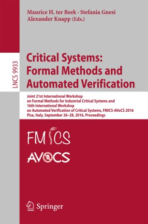 Critical Systems: Formal Methods and Automated Verification