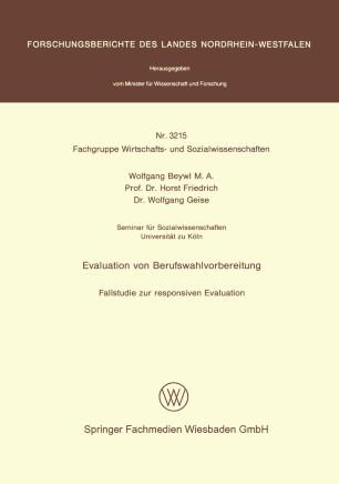 Evaluation Von Berufswahlvorbereitung Springerlink