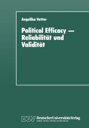 Political Efficacy — Reliabilität und Validität