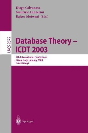 Database Theory — ICDT 2003