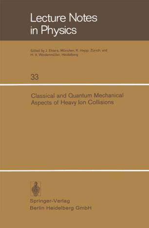 Classical and Quantum Mechanical Aspects of Heavy Ion Collisions