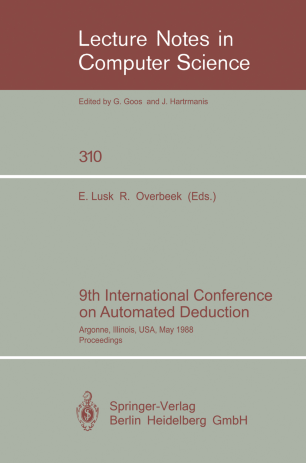 9th International Conference on Automated Deduction