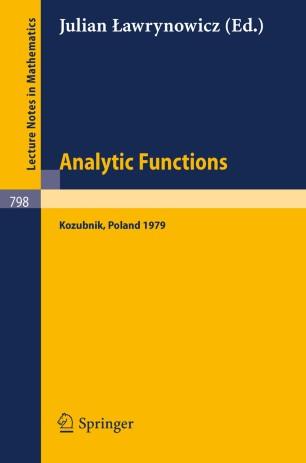 Analytic Functions Kozubnik 1979