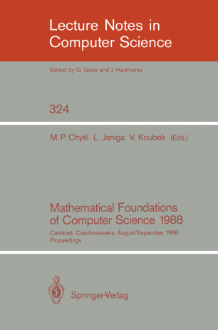 Mathematical Foundations of Computer Science 1988