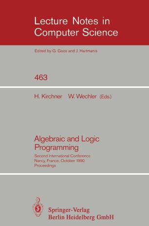 Algebraic and Logic Programming