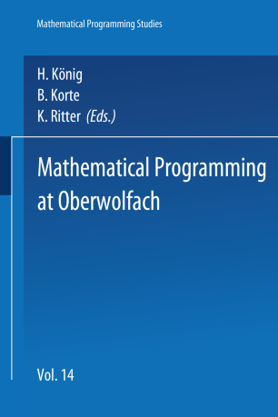 Mathematical Programming At Oberwolfach Springerlink