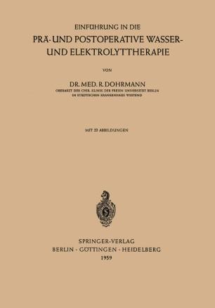 Einführung in die Prä- und Postoperative Wasser- und Elektrolyttherapie