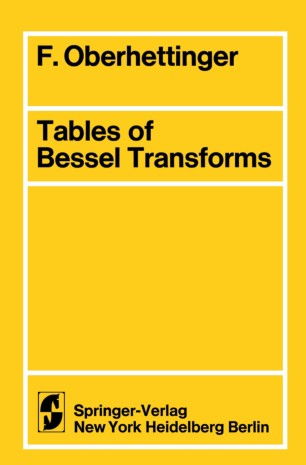 Tables Of Bessel Transforms Springerlink