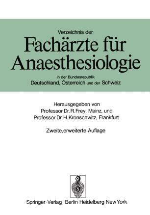 Verzeichnis der Fachärzte für Anaesthesiologie in der Bundesrepublik Deutschland, Österreich und der Schweiz
