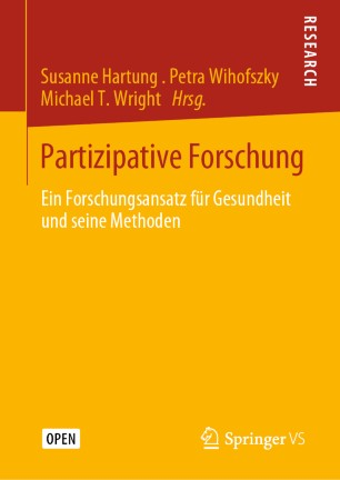 """Bild vom Buchcover des Sammelbandes """"Partizipative Forschung. Ein Forschungsansatz für Gesundheit und seine Methoden"""""""