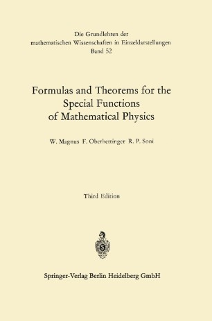 Formulas and Theorems for the Special Functions of