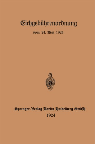 Eichgebührenordnung vom 24. Mai 1924