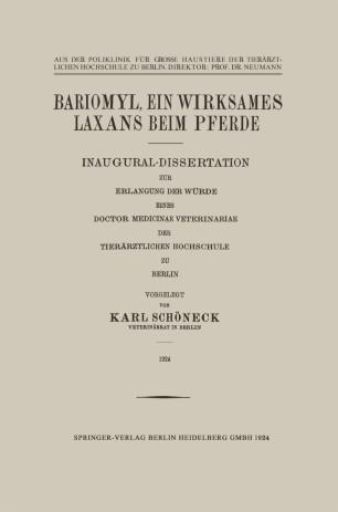Bariomyl, Ein Wirksames Laxans beim Pferde