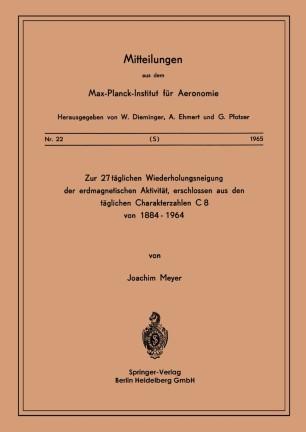 Zur 27-täglichen Wiederholungsneigung der erdmagnetischen Aktivität, erschlossen aus den täglichen Charakterzahlen C8 von 1884–1964