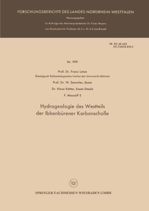 Hydrogeologie des Westteils der Ibbenbürener Karbonscholle
