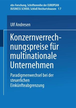 Konzernverrechnungspreise für multinationale Unternehmen