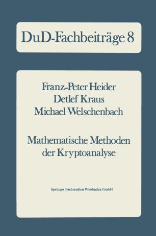 Mathematische Methoden der Kryptoanalyse