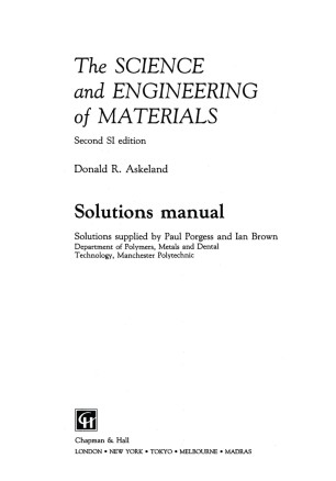 The Science And Engineering Of Materials Pdf