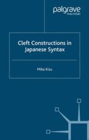 Cleft Constructions in Japanese Syntax