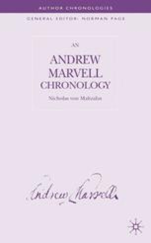 An Andrew Marvell Chronology