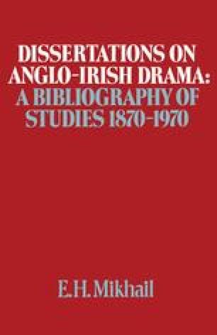 Dissertations on Anglo-Irish Drama