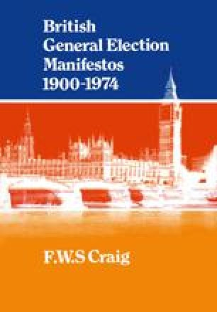 British General Election Manifestos 1900–1974