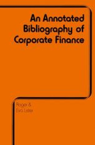 Annotated Bibliography of Corporate Finance