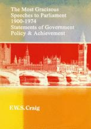 The Most Gracious Speeches to Parliament 1900–1974