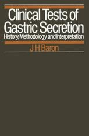 Clinical Tests of Gastric Secretion